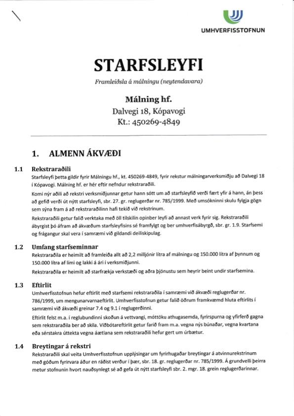 Starfsleyfi-Málningar